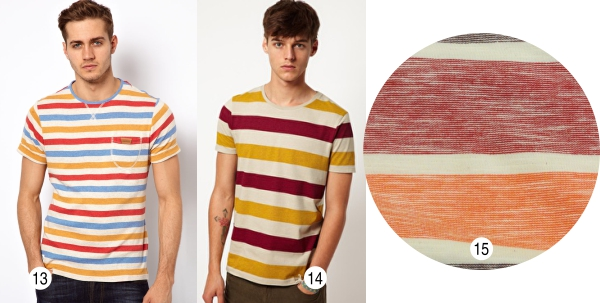 T-Shirt Native Youth (13), com bolso lateral e detalhes com trançador, e T-Shirt Básica Asos (14). Você pode usar o artigo 08511-08514 ZHOU (15), malha listrada com fio tinto flamê.